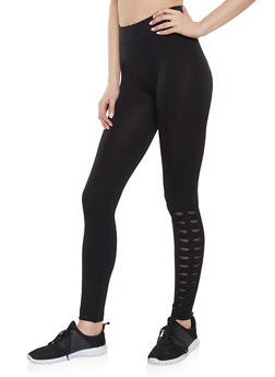 Laser Cut Mesh Insert Seamless Leggings - 1059062909337