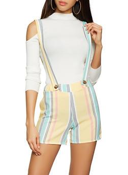 Striped Suspender Shorts - 1060020624882