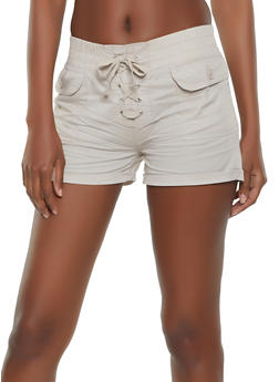 Cuffed Lace Up Shorts - 1060038340275