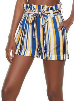 Linen Striped Paper Bag Waist Shorts - 1060038342200