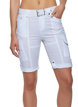 Tabbed Cuff Belted Cargo Bermuda Shorts - 1060038342252