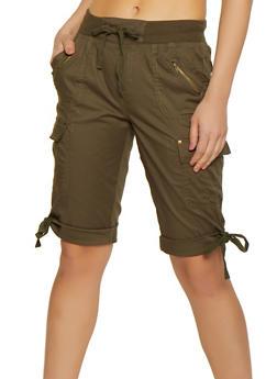 Tie Hem Cargo Bermuda Shorts - 1060038342253