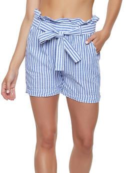 Striped Paper Bag Waist Linen Shorts - 1060038342263