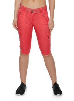 Belted Cargo Bermuda Shorts - 1060038348529