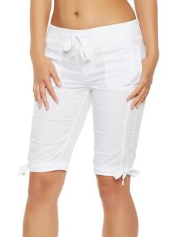 Drawstring Tie Hem Cargo Bermuda Shorts - 1060038349251