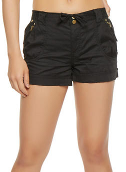 Zip Trim Tie Front Cargo Shorts - 1060038349273