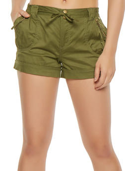 Zip Trim Tie Front Cargo Shorts - 1060038349273