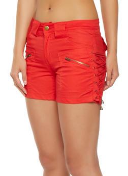 Lace Up Side Cargo Shorts - 1060038349284