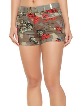 Belted Floral Camo Cargo Shorts - 1060038349287