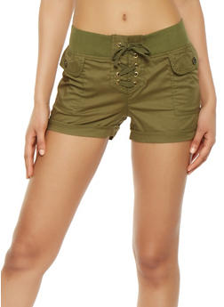 Lace Up Front Cargo Shorts - 1060038349289