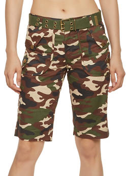 Belted Camo Cargo Bermuda Shorts - 1060038349297