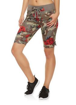 Camo Floral Bermuda Shorts - 1060038349299
