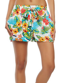 Floral Tie Front Shorts - 1060051061594