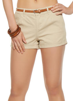Belted Twill Shorts - 1060051061648