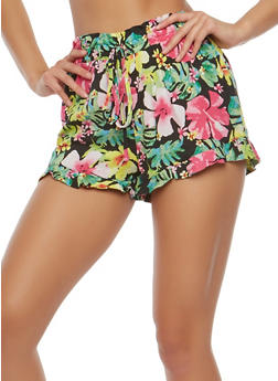 Printed Ruffle Trim Shorts - 1060051061657