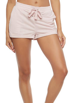 Lace Up French Terry Shorts - 1060051061672