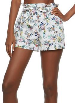 Floral Paper Bag Waist Shorts - 1060051061677