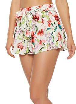 Floral Tie Waist Shorts - 1060051061686
