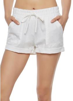 Solid Linen Shorts - 1060051061695