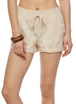 Solid Linen Shorts - 1060051061695