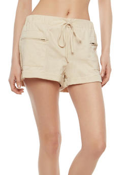 Zip Pocket Linen Shorts - 1060051061696