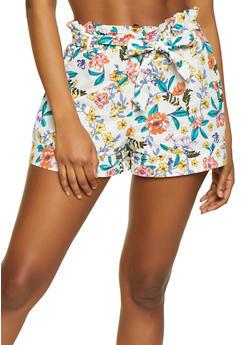 Flower Print Paper Bag Waist Shorts - 1060051061717