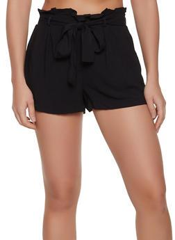 Solid Paper Bag Tie Waist Shorts - 1060051061734