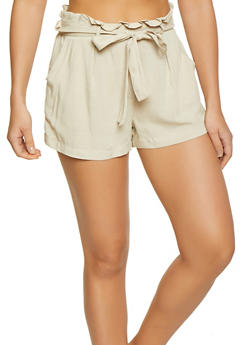 Solid Paper Bag Tie Waist Shorts - 1060051061734