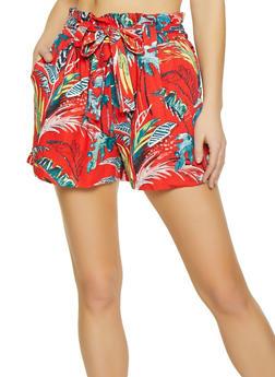 Floral Paper Bag Waist Shorts - 1060051061780