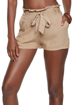 Paper Bag Waist Tie Front Shorts - 1060051061873