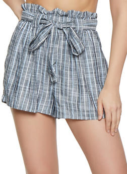 Striped Linen Paper Bag Waist Shorts - 1060051067801