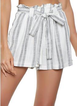 Striped Linen Paper Bag Waist Shorts - 1060051067801