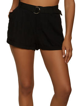 Solid Belted Shorts - 1060051068310