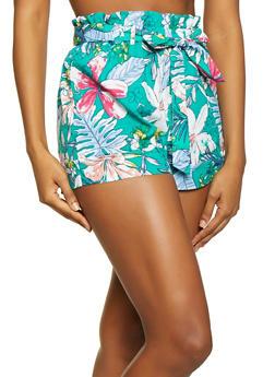 Floral Paper Bag Tie Waist Shorts - 1060051069595