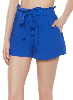 Tie Front Paper Bag Waist Shorts - 1060054262040