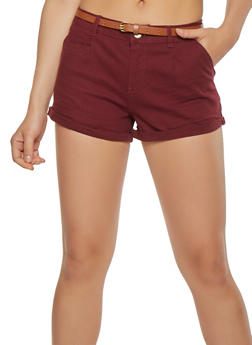 Belted Twill Shorts - 1060054264118
