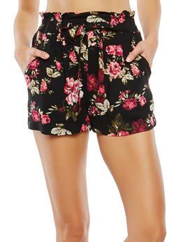 Floral Paperbag Waist Shorts - 1060054264461