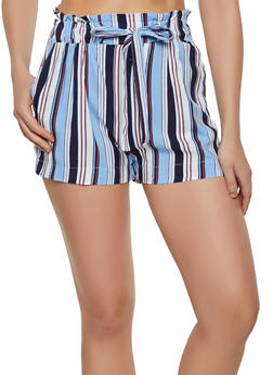 Paper Bag Waist Striped Shorts - 1060054264467
