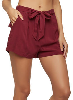 Solid Tie Front Shorts - 1060054267445