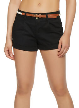 Braided Belt Cuff Shorts - 1060054268953