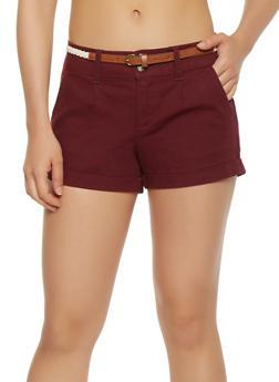 Braided Belt Cuff Shorts - 1060054268953