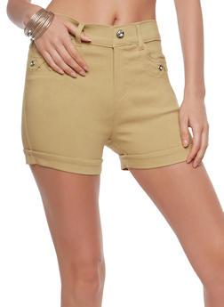 Rhinestone Detail Stretch Shorts - 1060072711281