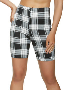 Plaid Soft Knit Bike Shorts - 1060074010654