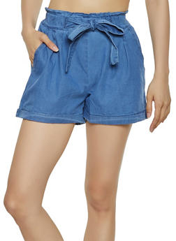 Chambray Paper Bag Waist Shorts | 1060074017159 - 1060074017159