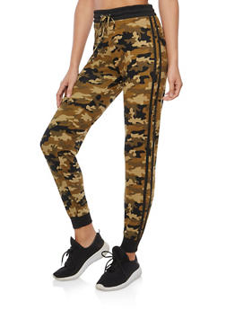 Soft Knit Camo Athletic Striped Sweatpants - 1061001443202