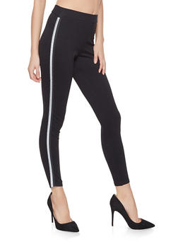 Striped Tape Trim Ponte Pants - 1061015990336