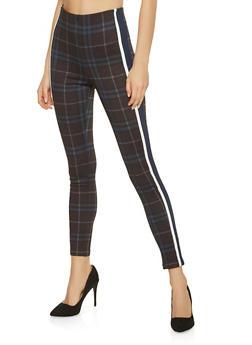 Plaid Side Stripe Pull On Pants - 1061015991154
