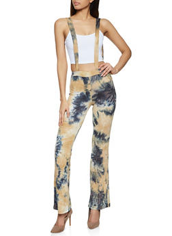 Tie Dye Suspender Flared Pants - 1061020620069