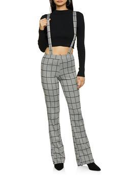 Plaid Suspender Pants - 1061020623612