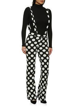 Flared Polka Dot Suspender Pants - 1061020624167